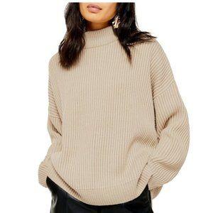 Topshop Mock Neck Oversized Rib Knit Sweater 12
